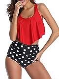 Durio Bikini High Waist Damen Zweiteiliger Bikini Set Hohe Taille Bikinihose mit Langem Volant Rot-Weiße Punkte EU 44 (Herstellergröße 2XL)