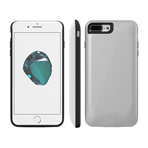 Custodia Batteria iPhone 7 Plus, Moonmini® Per iPhone 7 Plus 7500mAh Batteria Ricaricabile Esterna Power Bank Integrata Charger Case Custodia Prottetiva (Silver)