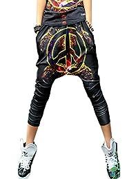 ELLAZHU Femme Pantalon Lâche Sarouel Sign&Imprimé Leopard Taille Unique GK84