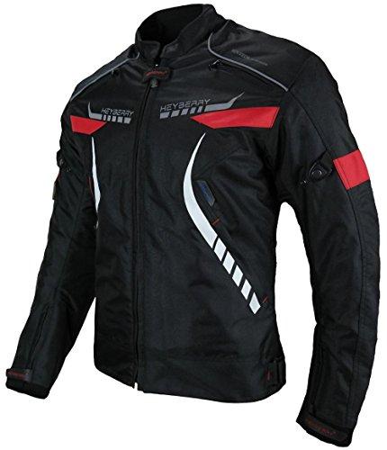 *Heyberry Damen Motorradjacke Textil Schwarz Rot Gr. S / 36*