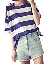 2220b3b285dbd2 kingko Damen Basic T-Shirt Sommer Casual Jersey Shirt Gestreift Rundhals  Oberteil Tops Shirt