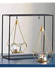 PIKIFY Steel Hanging Rectangular Shaped Geometric Candle Holder