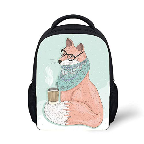 Kids School Backpack Animal Decor,Cute Hipster Fox with Glasses and Scarf Drinking Coffee Hippie Illustration,Coral Mint Plain Bookbag Travel Daypack