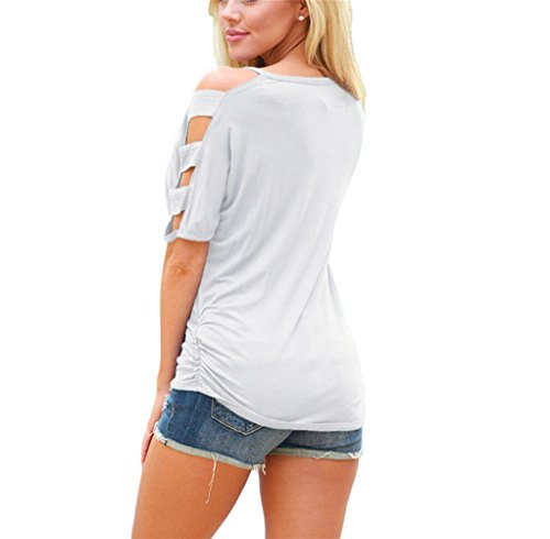 PU&PU Frauen Casual / Tägliches einfaches T-Shirt V-Ausschnitt Kurzarm Ruffled Top Shirt Solid Color White