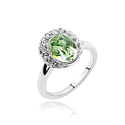 AMDXD Schmuck Damen Ring Vergoldet Oval Olive Hochzeitsring Größe 53