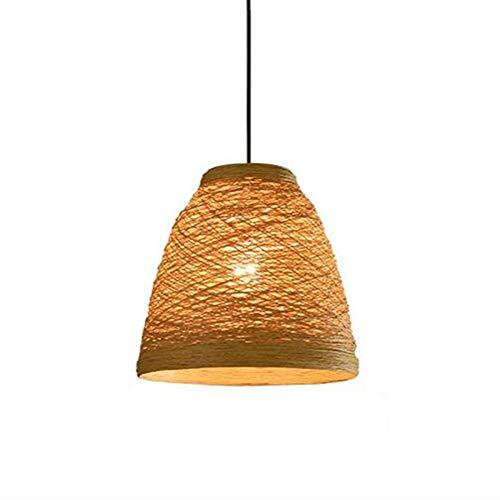ZGAO Rétro Lustre Suspensions Lampe Pendentif Luminaire Chanvre Bambou Tissage Vigne Abat-Jour pour Industriel Restaurant/Bar / Cafe/Pastoral Chambre, φ 25cm