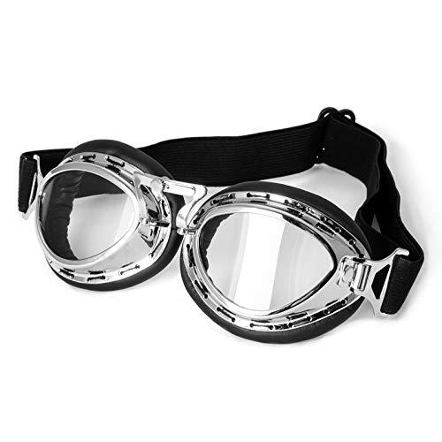 Schutzbrille Google Vintage Motorrad Motorradbrille Aviator Sport Schwarz