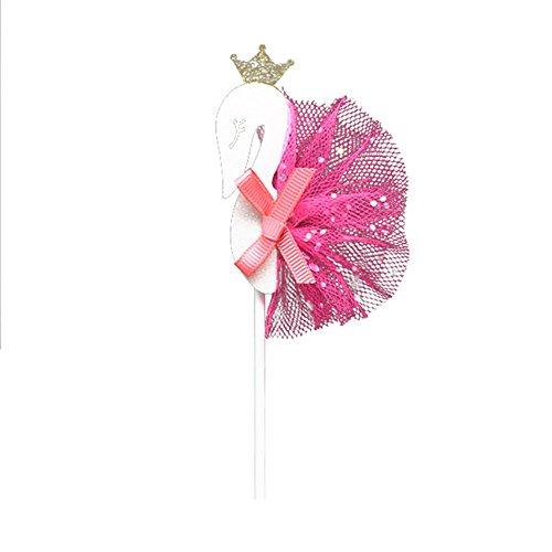 Ruby569y Tortenaufsatz für Geburtstag, Tortendekoration, 6 Stück, schöne handgefertigte Geburtstagskuchendekoration für Kinder, Party-Flagge rosarot