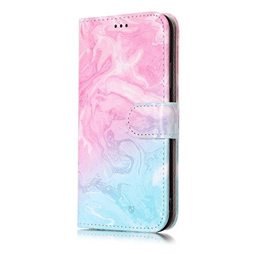inShang Custodia per iPhone X 5.8 inch con design integrato Portafoglio, iPhoneX 5.8inch case cover con funzione di supporto. Pink green marble