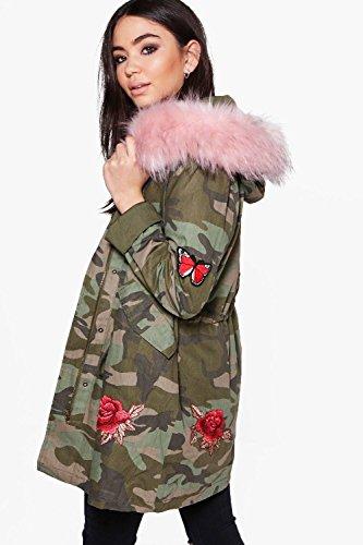 Rose Damen Olivia Eleganter, Bestickter Parka Mit Camouflage-print Und Kunstpelzkapuze Rose