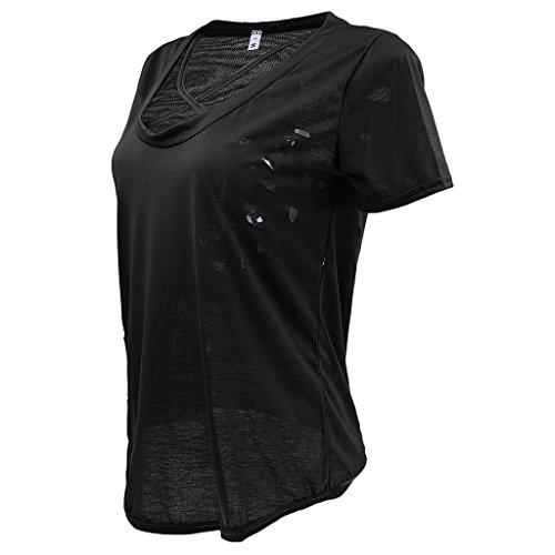 MagiDeal Donne Top Maglietta T-shirt Camicie di V Scollo Estate 6-colori Nero