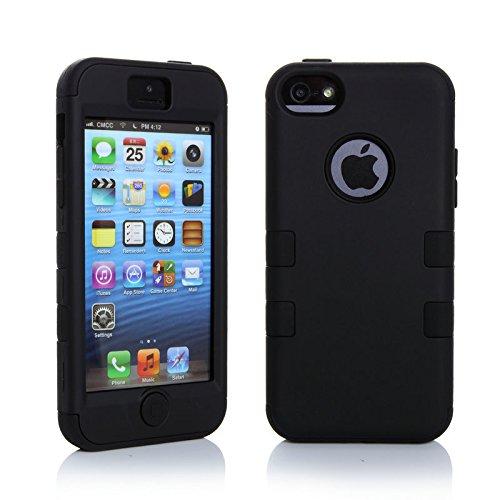 sibaina Étui pour téléphone portable Apple iPhone 55S 5C, Joli Vernis coloré en silicone 3en 1Housse étui coque rigide pour iPhone 5C Film de protection d'écran + Stylet, Silicone plastique, Rose noir