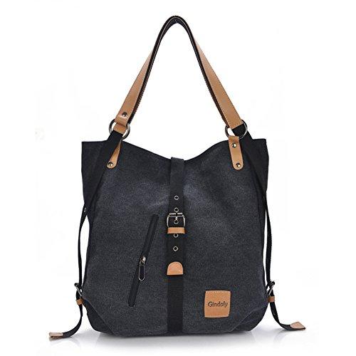Gindoly Stilvolle Damen Canvas Handtasche Rucksack Umhängetasche 3 in 1 Große Multifunktionale Tasche für Arbeit Schule Reise (Schwarz)