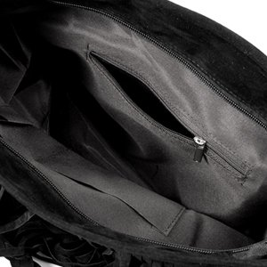 Fashion Fransen Damentasche Beutel Taschen Schultertasche Umhängetasche PU Wildleder mit Reissverschluss Schwarz