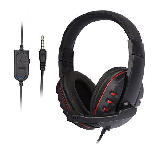 LESHP 3,5mm Gaming Headset Wired Kopfhörer mit Mikrofon On Ear Surround Sound Ohrhörer Stirnband Headphone und Lautstärkeregelung für Sony PS4 Xbox One PC Laptop Tablet Mobile - Mikrofon Usb Mit Gaming-kopfhörer