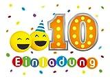 12 Einladungskarten 10. Kindergeburtstag Mädchen Jungen Party-Bälle zehnte Geburtstag Geburtstagseinladungen Einladungen Geburtstags Kartenset