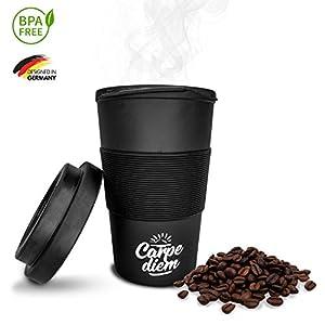 41aWCNP2CnL. SS300  - Timeler ® Kaffee to Go Becher aus nachhaltigen Bambusfasern 400ml | Deckel mit Schraubverschluss | Umweltfreundlich & Ökologisch | Bamboo Cup Coffee