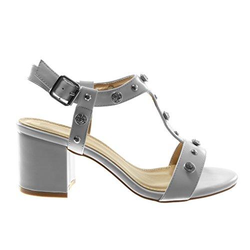 Angkorly Chaussure Mode Sandale Escarpin Lanière Cheville Femme Strass Diamant Clouté Brillant Talon Haut Bloc 7 cm Blanc