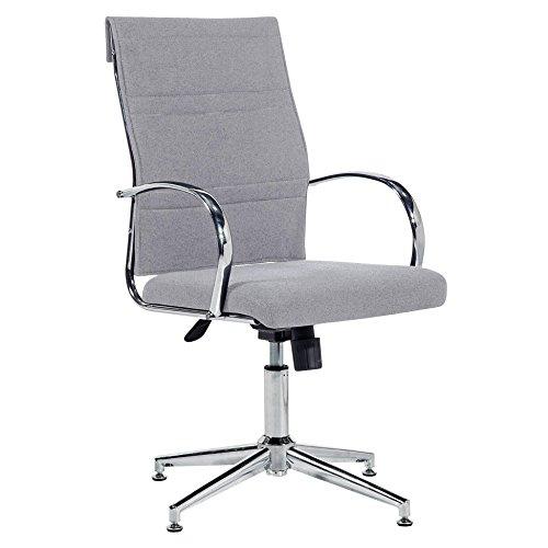 Silla de escritorio para despacho modelo MILLER con base fija Elegance color gris ceniza - Sedutahome
