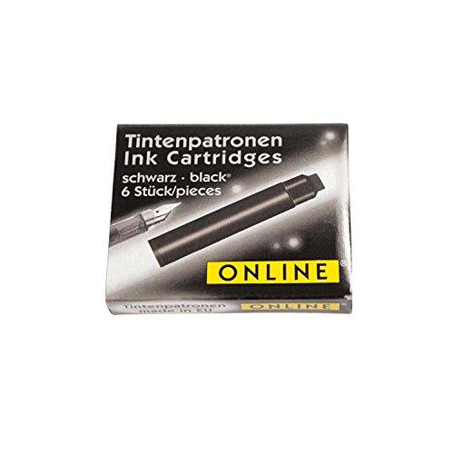 Online 17022/12 - Tintenpatronen für Füllhalter, 6 Stück, schwarz