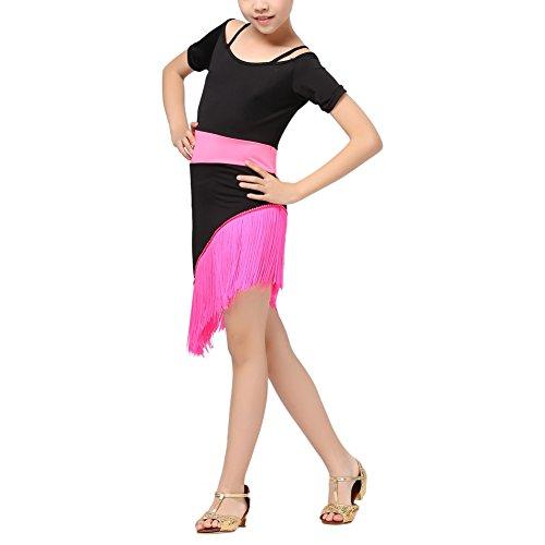 Hougood Kinder Mädchen Latin Dance Kleid Quaste Bühnenshow Wettbewerb Ballroom Dance Kostüm Latin Salsa Tango Outfit (Prom Sparkle Kleider)