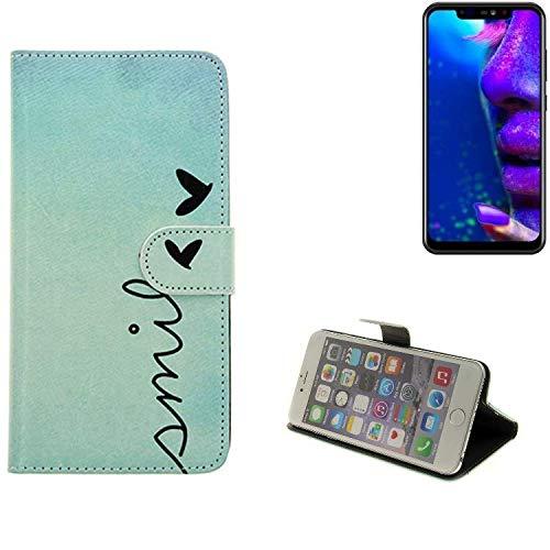 K-S-Trade® Für Allview Soul X5 Pro Hülle Wallet Case Schutzhülle Flip Cover Tasche Bookstyle Etui Handyhülle ''Smile'' Türkis Standfunktion Kameraschutz (1Stk)