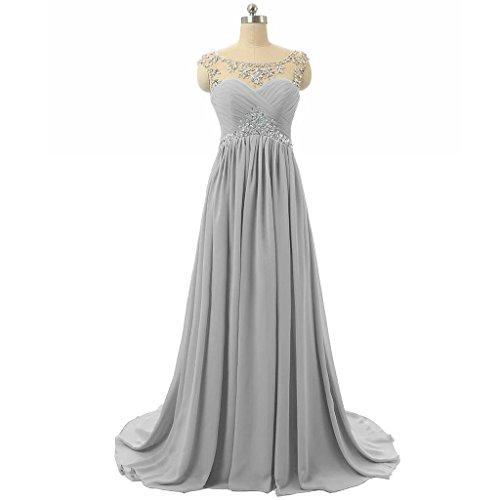 LuckyShe Lang Chiffon Abendkleider Ballkleider Promkleider Partykleider Silber