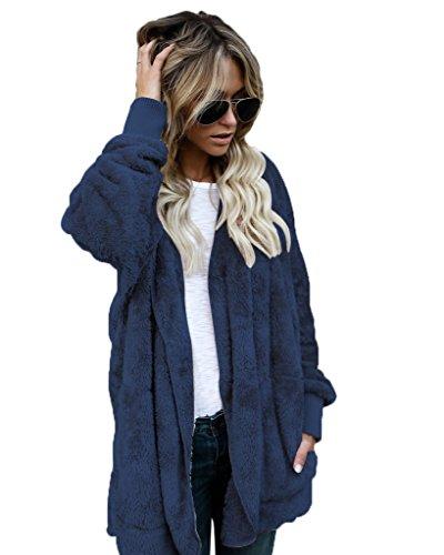 Minetom Damen Teddy-Rook Mantel Kapuzenjacke Baggy Parka Trench Coat Wärme Outwear Dunkelblau DE 34