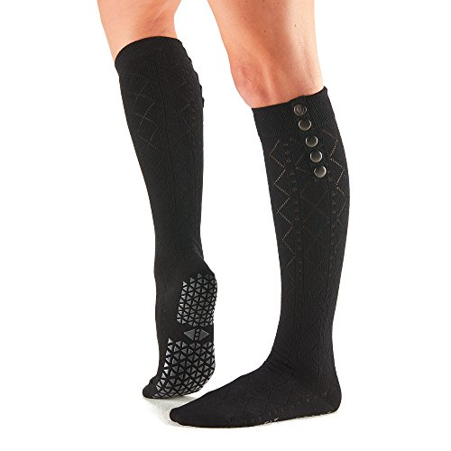 Tavi Noir Stella Fashion Knie Hohe Grip Socken mit Messing Knopf für Details Barre, Yoga und Pilates, Damen, Tavi Ebony, Small (Socken Flach Socke Knie)