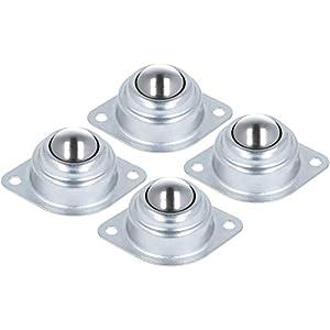 COM-FOUR® 4x Kugelrollen aus Stahl, Möbelrollen, Kugelrollenlager mit Bodenflansch Montagelöcher