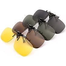 4 x PChero® miopía gafas de sol polarizadas gafas de visión nocturna clip-en la lente conveniente, partidario de sol 4 piezas (amarillo visión nocturna + gris + marrón oscuro + verde oscuro)