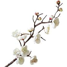 plum blossom flores seda artificial Sannysis ramos de flores artificiales decoración jarrones exterior altas flores secas para tocados decoracion, ramo de novia, boda, fiesta, casa (Blanco)