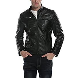 jeansian Mens Stand-Collar Zipper Pockets Leather Jacket Coat Tops 9309