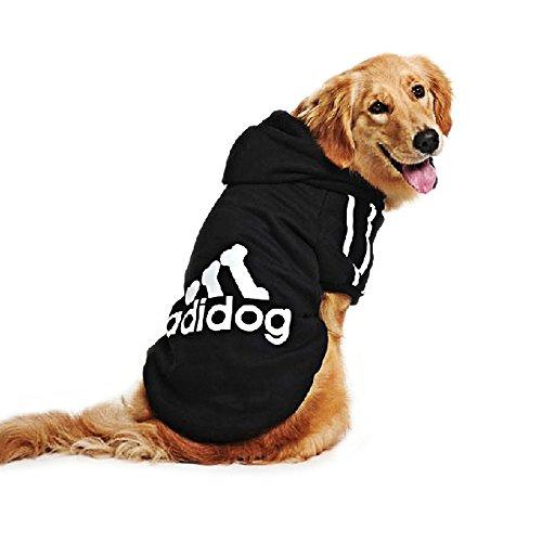 DULEE adidog Hund Warme Hoodies Mantel Jumpsuit Haustier Kleidung Jacke Pullover Baumwolle Pullover Outwear Schwarz 5XL