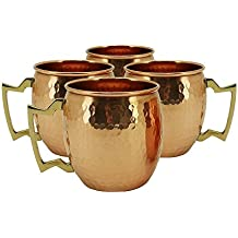 Olia Design RV Hammered Copper Moscow Mule Mug with Brass Handle, 18oz