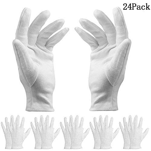 BESTZY 12 Paar weiß Baumwolle Handschuhe/Baumwollhandschuhe – Kosmetik Feuchtigkeitsspendende Handschuhe für trockene Hände,Neurodermitis,Schönheit, Münze,Schmuck und Silber Inspektion – ()