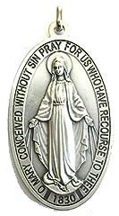 Idea Regalo - 60.836.30 miracolosa medaglia madonna maria miracolosa + logo preghiera inglese argento misura 9 cm