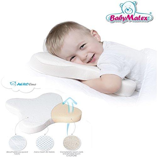 BabyMatex ** BUTTERFLY Atmungsaktives Calipore Babykopfkissen inkl. Bezug ** AERO 3D Mesh System für eine perfekte Luftzirkulation ** Kopfkissen ideal für Bauchschläfer / Seitenschläfer **