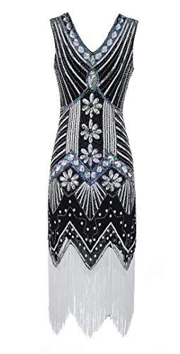 Schwarz Übergröße Kostüm Flapper - Viloree Retro 1920er Damen Flapper Kleider voller Pailletten V-Ausschnitt Great Gatsby Motto Party Schwarz + White M