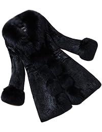 Eleganti e Raffinate Giacca Donna in Pelliccia Ecologica Faux Lungo Cappotto  A Maniche Lunghe 953f631cc40