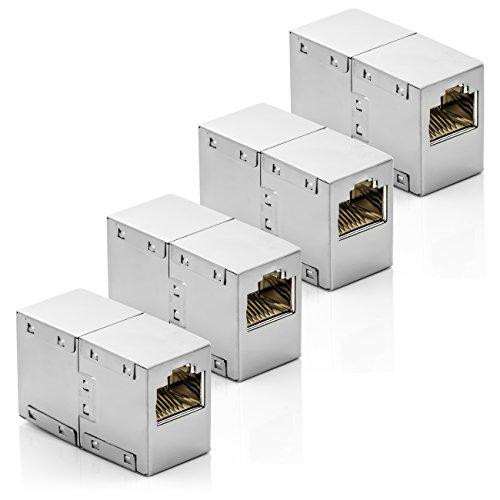 deleyCON CAT6 RJ45 Kupplung Verbinder Netzwerkkabel Patchkabel Ethernetkabel Adapter Modular Geschirmt 2X RJ45 Buchse DSL LAN RJ45 4 Stück -