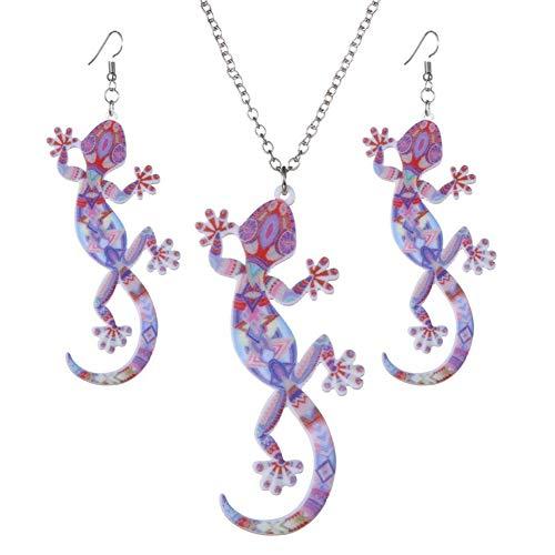 CAOLATOR.Conjunto de Aretes y Collar de Animal Vintage Moda de Decoración del Partido Aretes Moda para el Accesorios Hombres y Mujeres Aretes Generales-Gecko