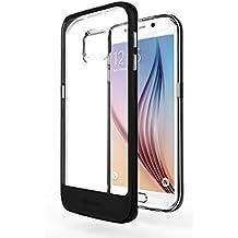 Funda Galaxy S6 Edge - Azorm Hybrid Edition Negro - Bumper con Efecto Metálico, Transparente, Resistente a los arañazos en su parte trasera, Amortigua los golpes - funda protectora de silicona anti-golpes para Samsung Galaxy S6 Edge