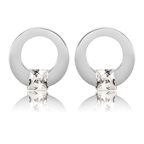 Aooaz Gioielli Donne Acciaio inossidabile Orecchini Orecchini a perno Piazza rotonda anello cristallo Cubic Zirconia Stud orecchino argento per donne orecchini fidanzamento