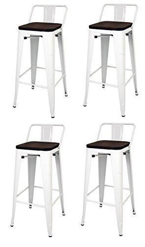 La Silla Española - Pack 4 Taburetes estilo Tolix con respaldo y asiento acabado en madera. Color Blanco. Medidas 95x43x43