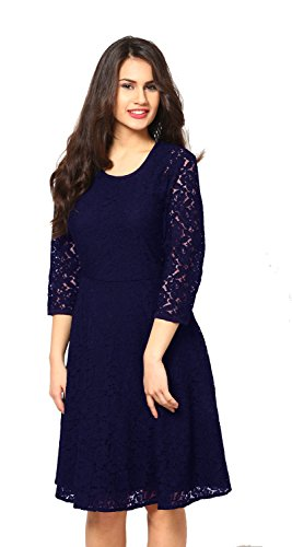 Aroma Lifestyle Women's Dark Blue A-Line Midi Dress