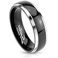 Paula & Fritz piercing Titan anello argento 4mm di larghezza nastro anello con nastro nero e cupola disponibile anello misure 47(15)–53(17) R-0619ti–4