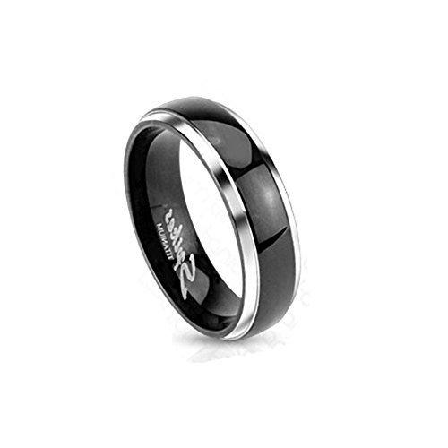 Paula & Fritz piercing Titan anello argento 4mm di larghezza nastro anello con nastro nero e cupola disponibile anello misure 47(15)-53(17) R-0619ti-4, titanio, 50 (15.9), colore: metallic, cod. R-TI-0619-4_06