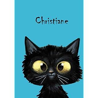 Christiane: Personalisiertes Notizbuch, DIN A5, 80 blanko Seiten mit kleiner Katze auf jeder rechten unteren Seite. Durch Vornamen auf dem Cover, eine Coverfinish. Über 2500 Namen bereits verf