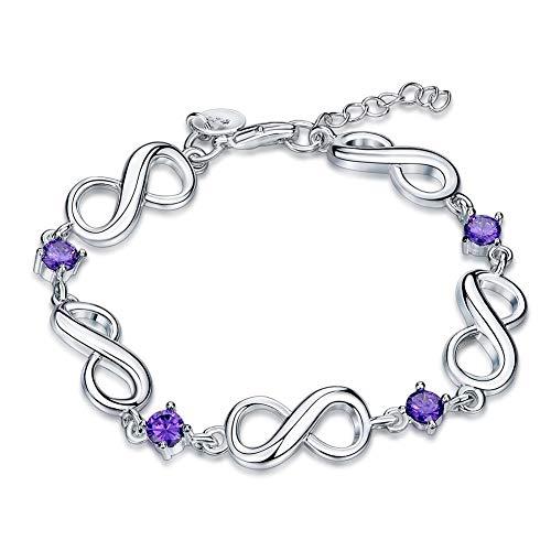 YUHUS Home Trendy Fashion Shiny Zircon Bracelet Señoras Joyas Morado